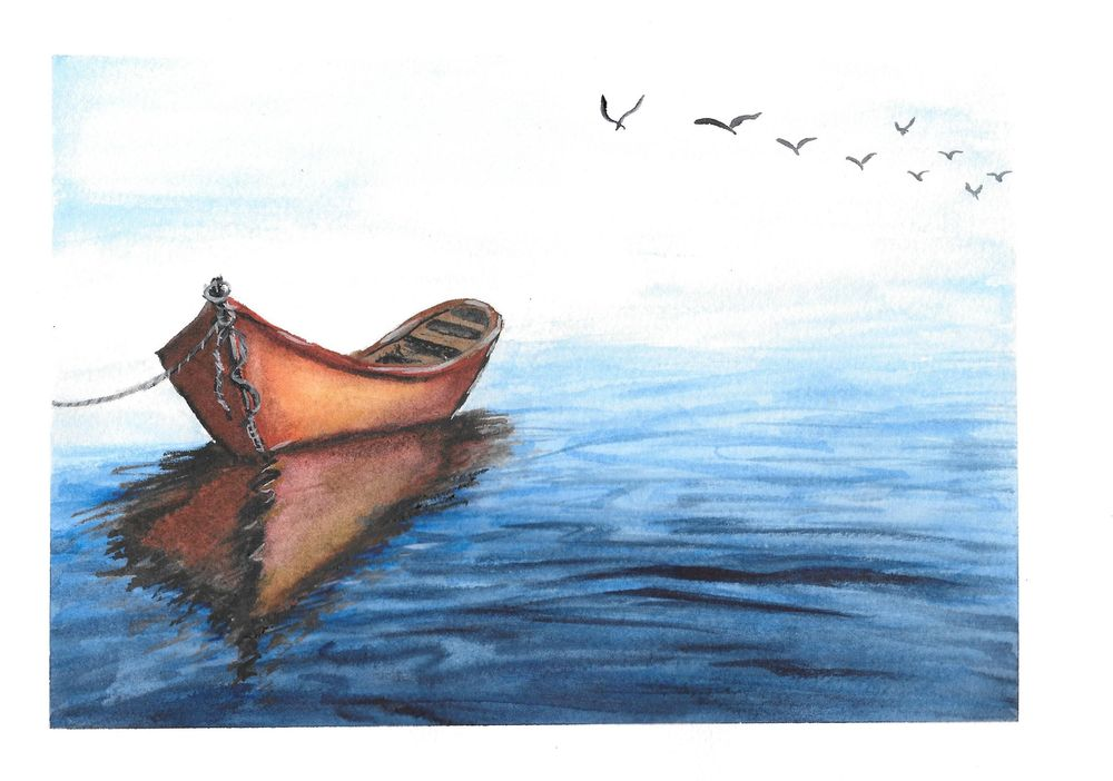 Watercolor Seascape & Boats - image 1 - student project