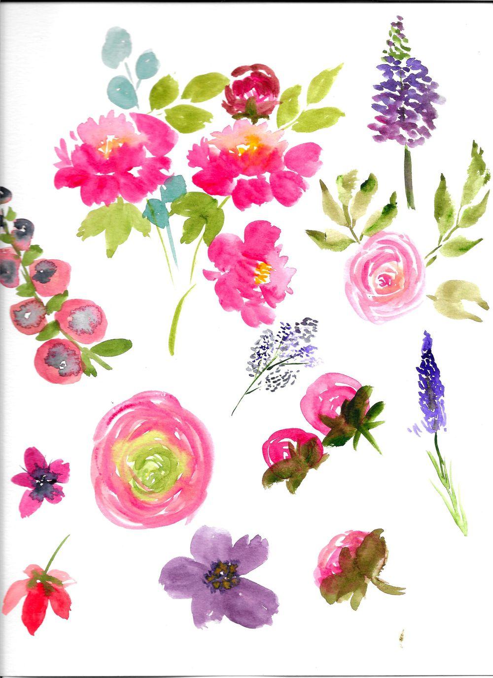 Watercolor Floral Arrangement - image 3 - student project