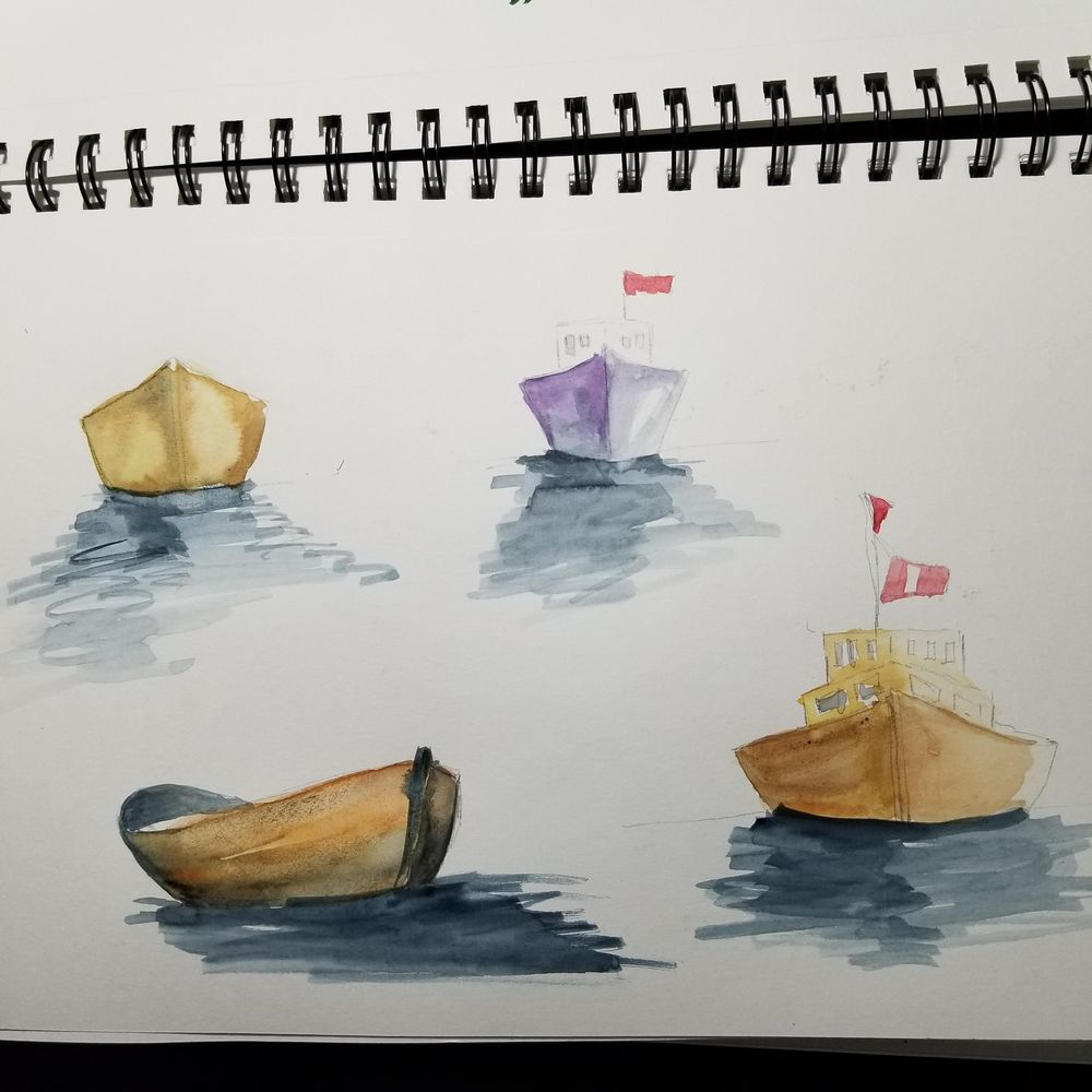 Watercolor Seascape & Boats - image 7 - student project
