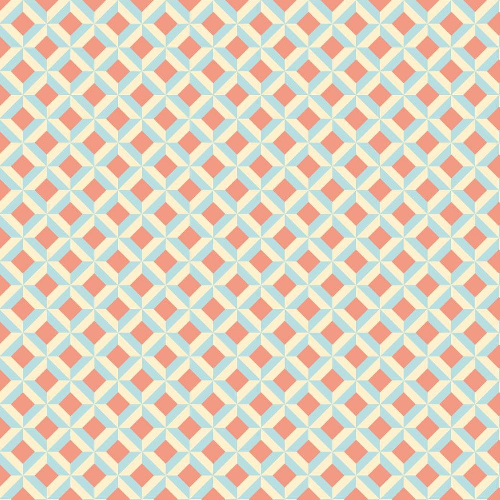 Shape in Shape Pattern in Coral, Aqua, and Cream - image 1 - student project