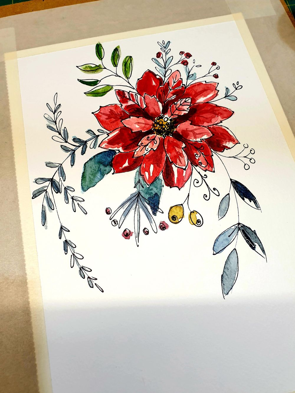 Ink and Watercolor Poinsettia - image 1 - student project