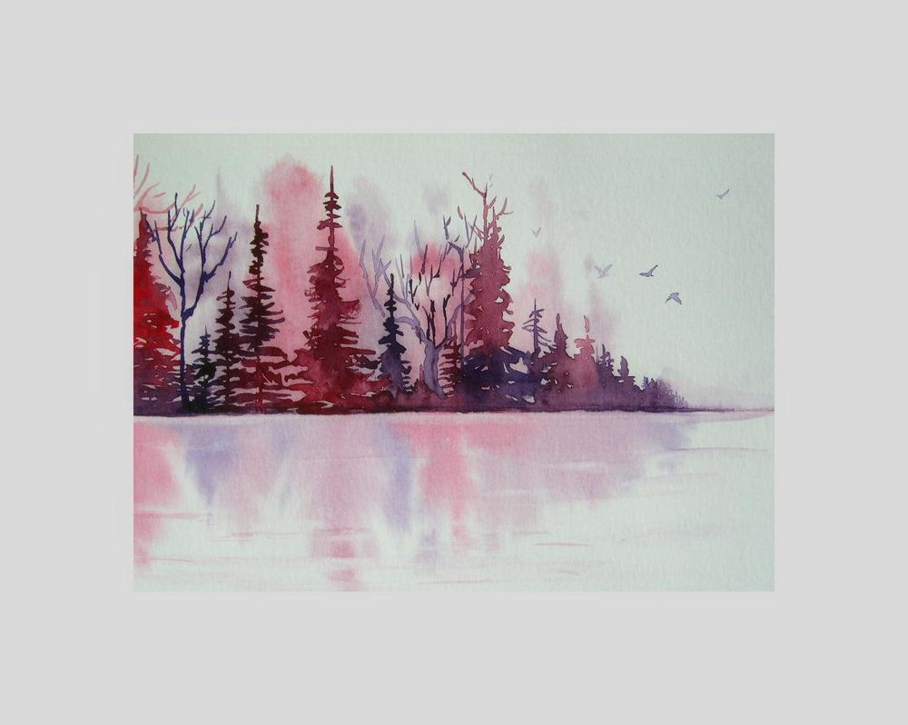 Watercolor Landscape - Dreamy Lake Reflections - image 1 - student project