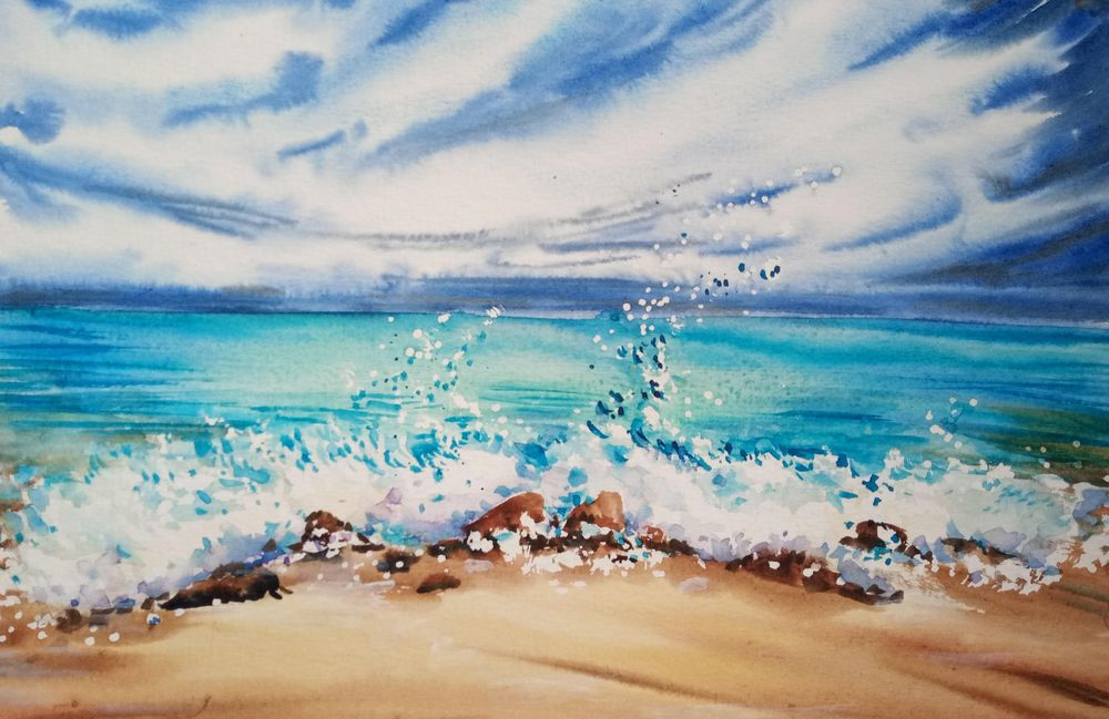 Watercolor Ocean Waves - image 2 - student project