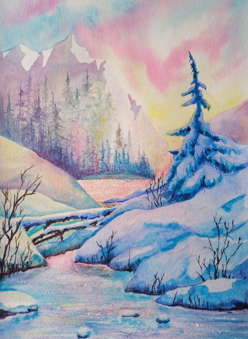 Painting A Winter Mountain Sunset In Watercolor - image 1 - student project