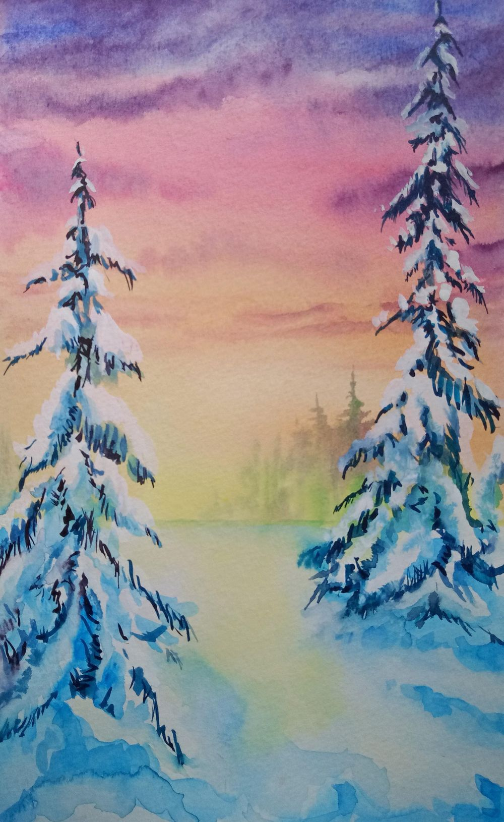 Learn to Paint Gorgeous Winter Pines - image 1 - student project