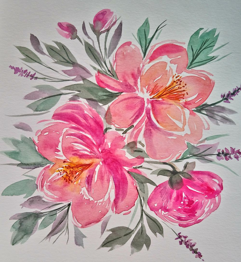 Easy-to-Learn: Loose Watercolor Peonies - image 1 - student project