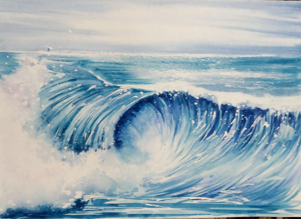 Watercolor Ocean Waves - image 1 - student project