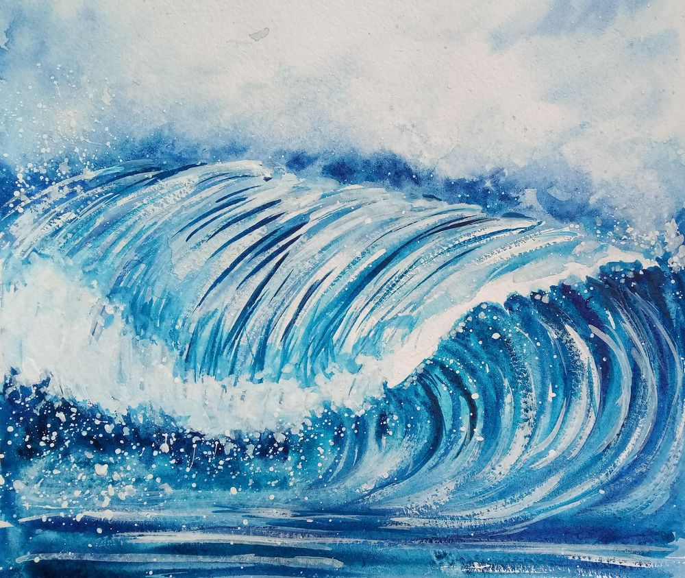 Watercolor Ocean Waves - image 3 - student project