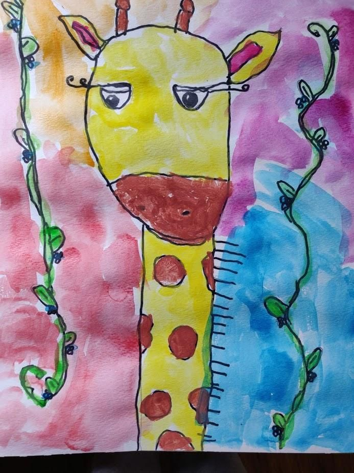 Rainbow Giraffe by my child Nada (7 years old) - image 1 - student project