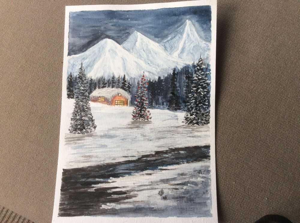 Snowy mountain Christmas scene - image 1 - student project