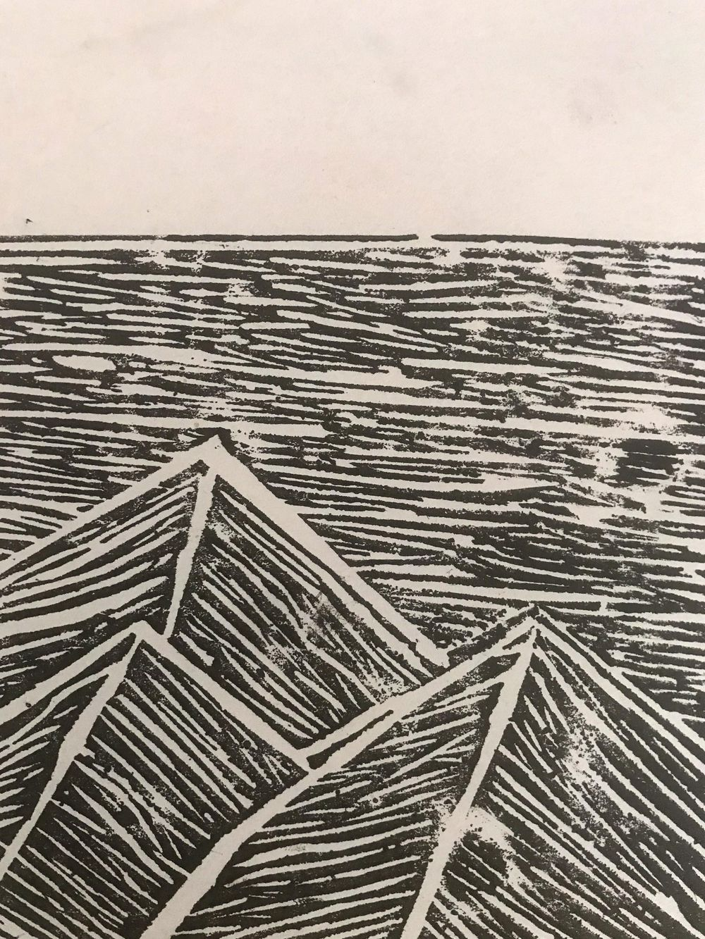 Lino cut Mountains - image 1 - student project
