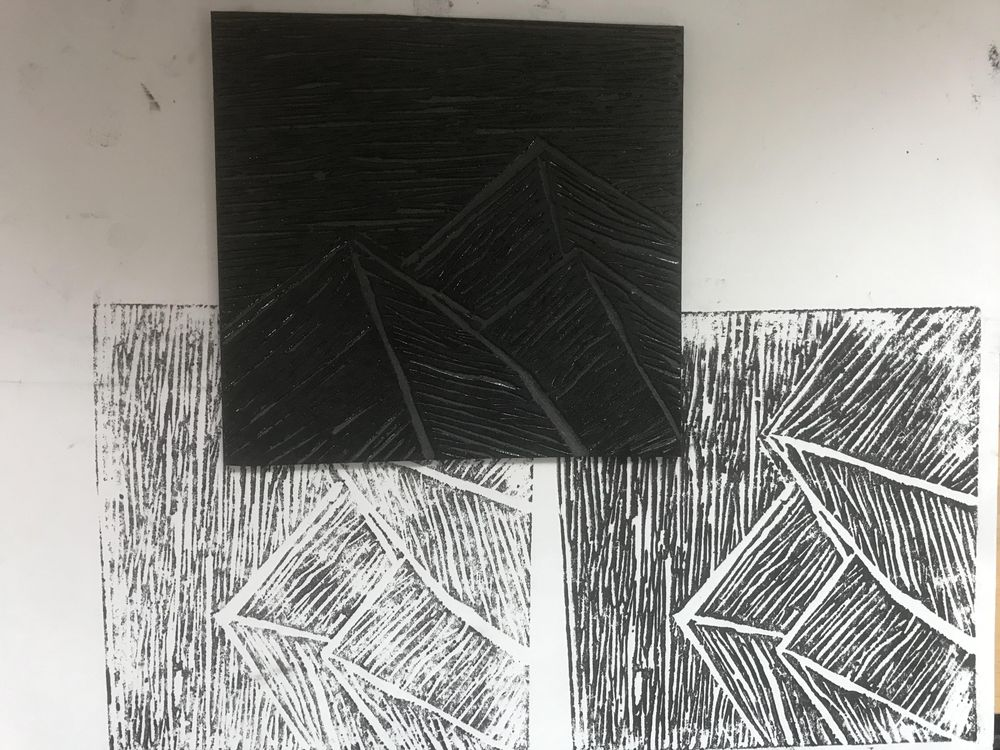 Lino cut Mountains - image 3 - student project