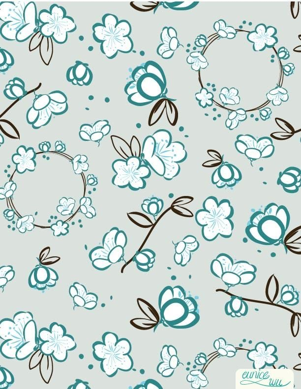 """Intro to surface pattern design workshop:  """"Nostalgia"""" - image 1 - student project"""