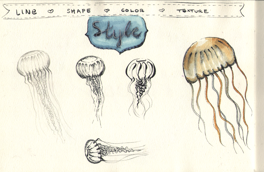Jellyfish in different styles - image 1 - student project