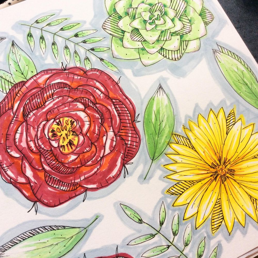 Floral sketching and marker pen - image 2 - student project