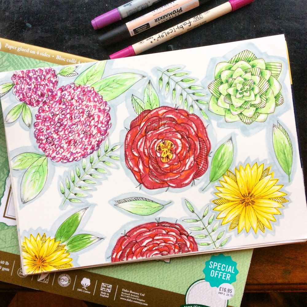 Floral sketching and marker pen - image 1 - student project