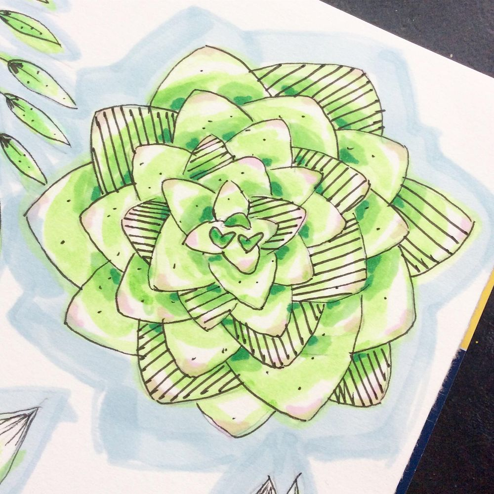 Floral sketching and marker pen - image 3 - student project