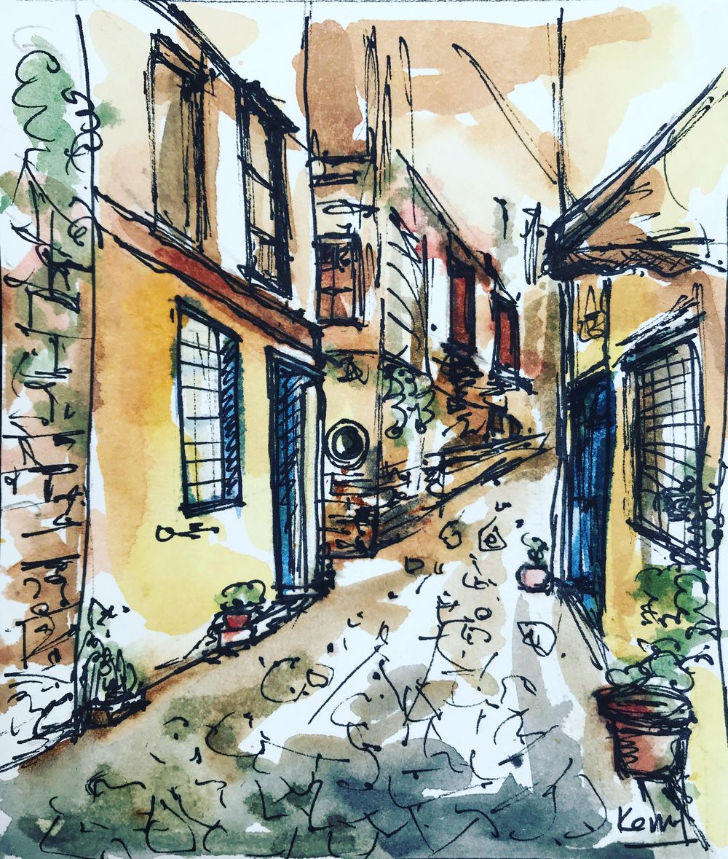 Greek Street Urban Sketching - image 1 - student project