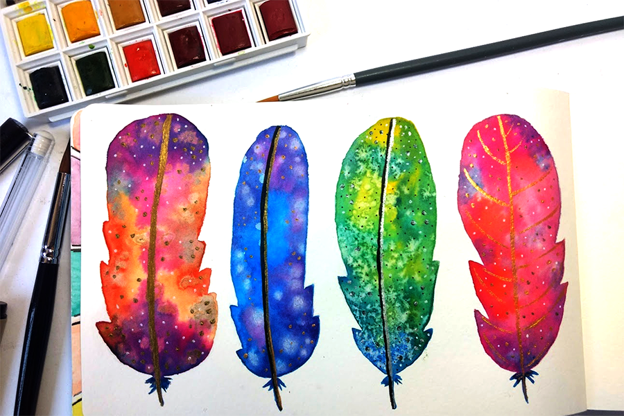 Watercolor Feathers - image 3 - student project