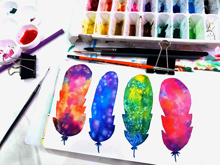 Watercolor Feathers - image 2 - student project
