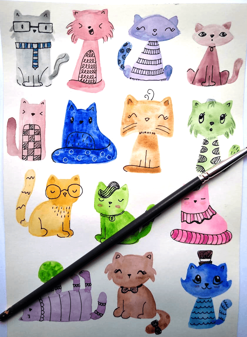 Watercolor Cats - image 1 - student project
