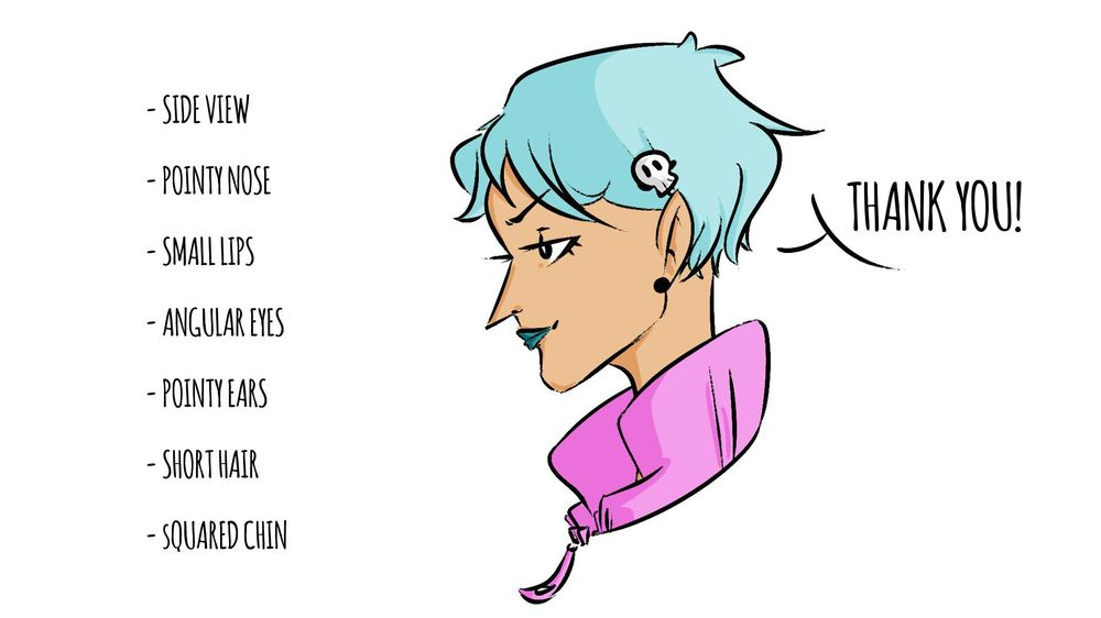 My Pointy Short (Blue) Haired Character! - image 1 - student project