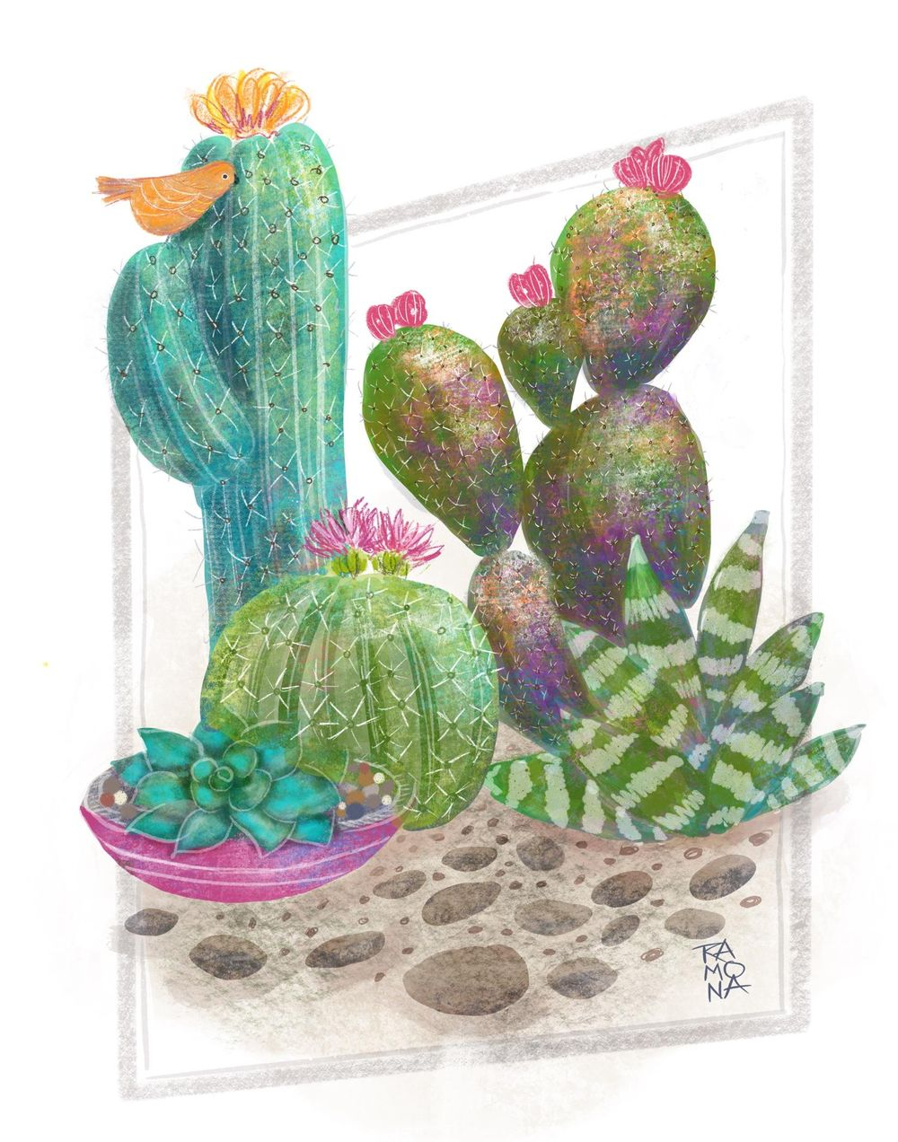 Textured Cactus Layering - image 1 - student project