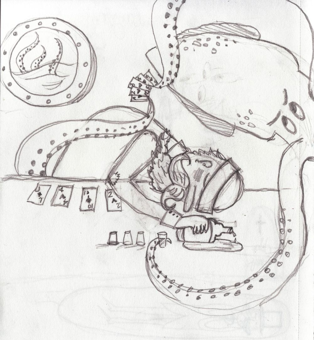 First mate Alfred Morgan loses at cards to Irving, the giant squid. - image 1 - student project