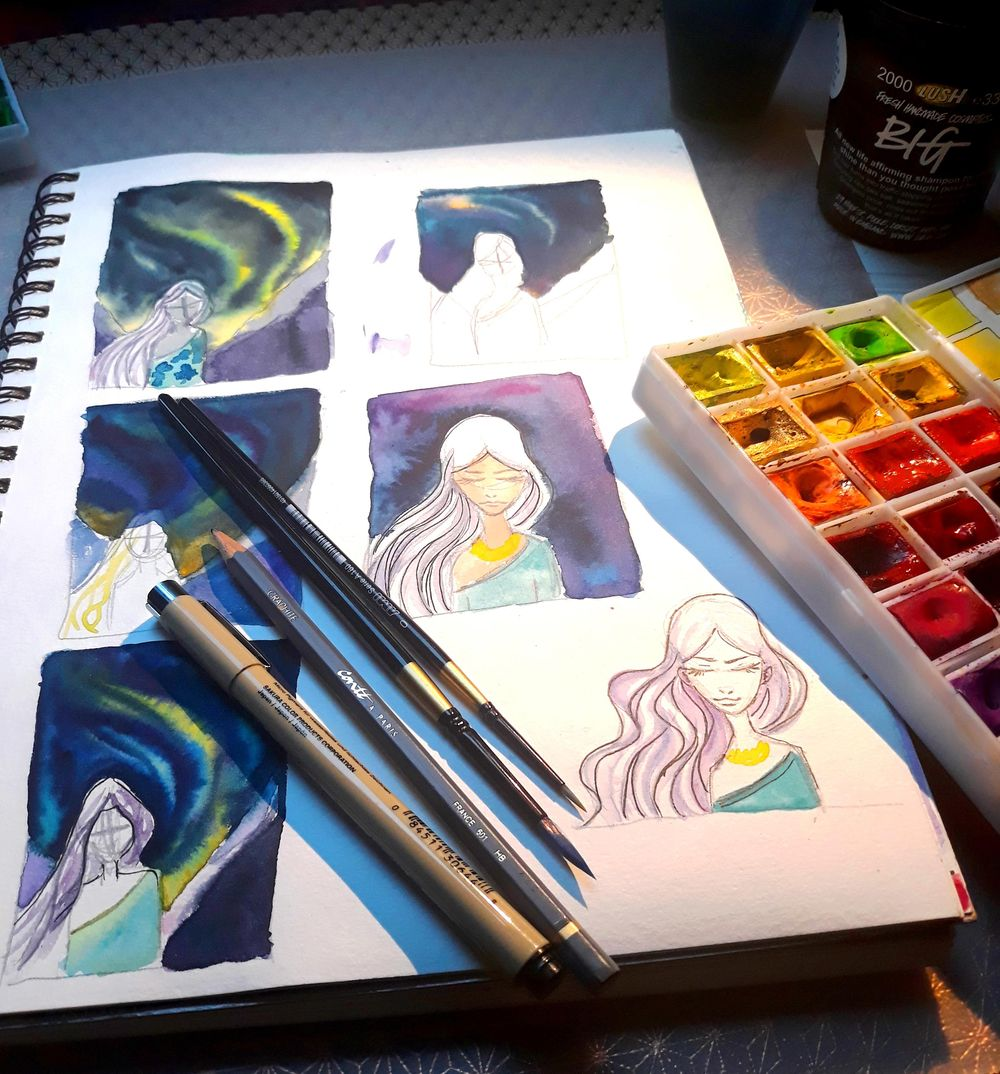 Watercolor Galaxy - Aurora, the Goddess of Dawn - image 2 - student project