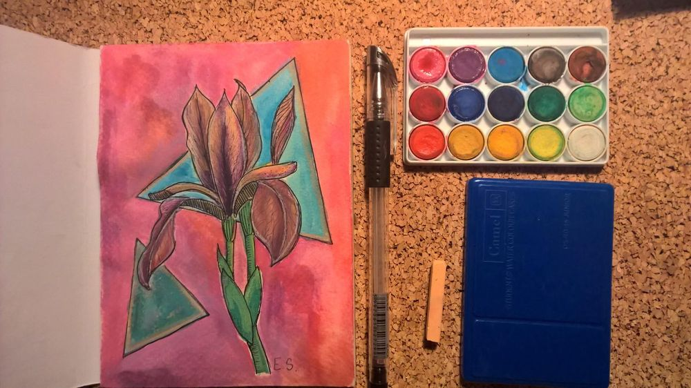 Watercolor Galaxy Iris flower - image 1 - student project