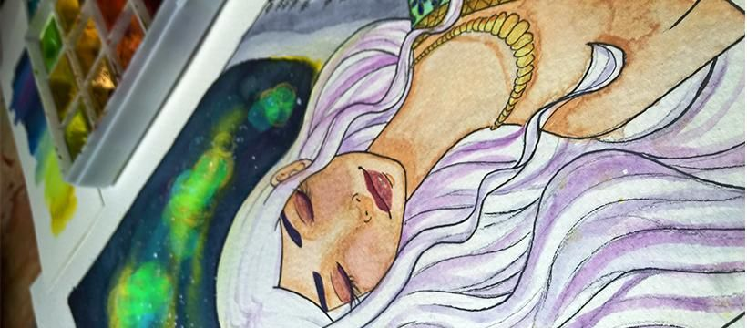 Watercolor Galaxy - Aurora, the Goddess of Dawn - image 3 - student project