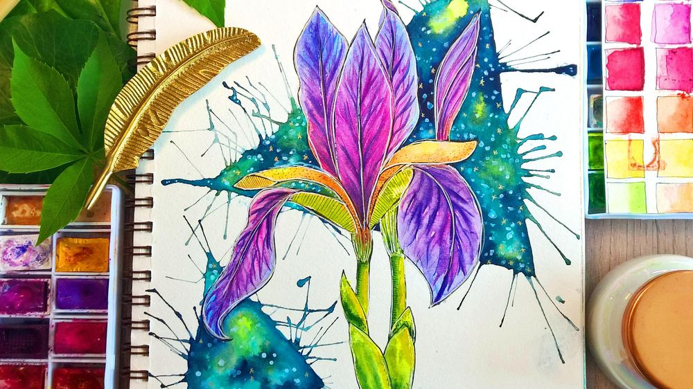 Watercolor Galaxy Iris flower - image 2 - student project