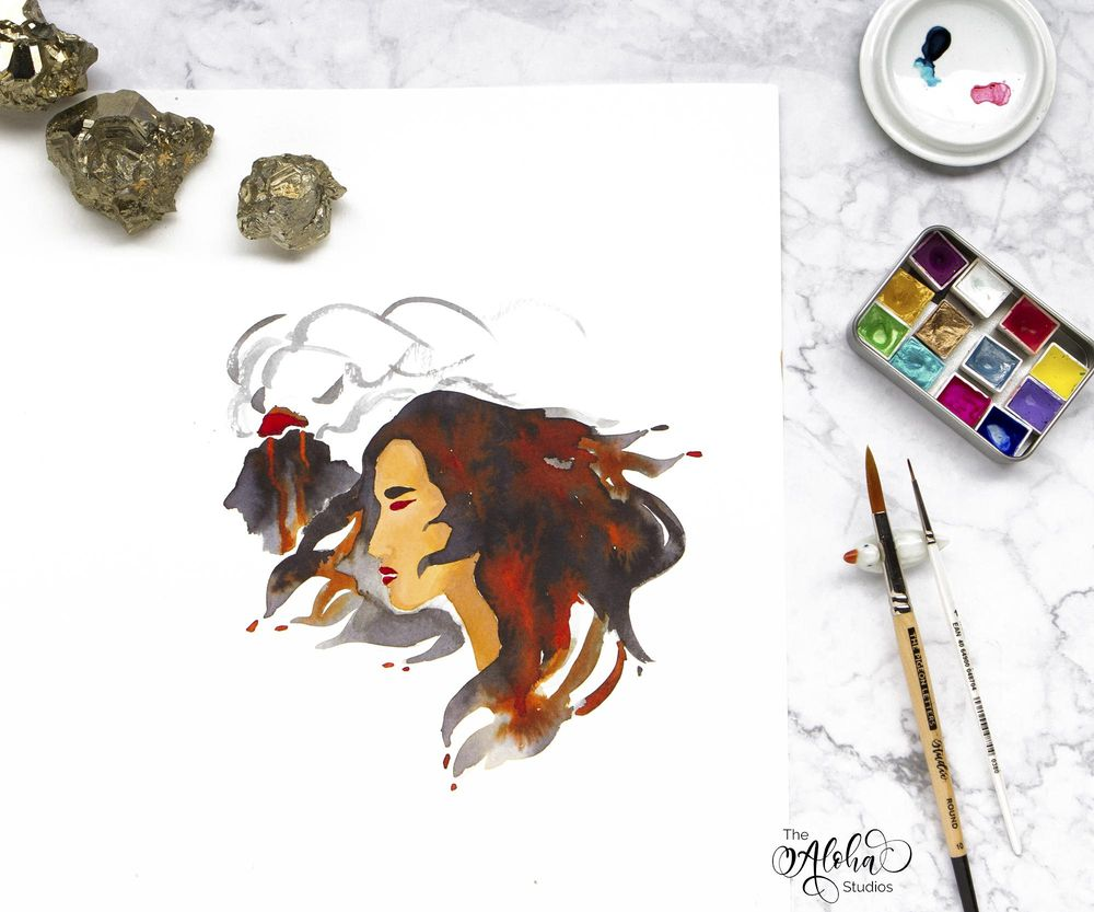 Hawaiian watercolor goddesses, work process - image 12 - student project