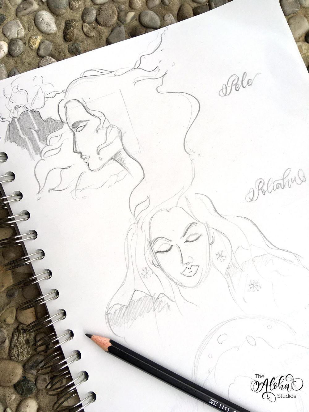 Hawaiian watercolor goddesses, work process - image 2 - student project