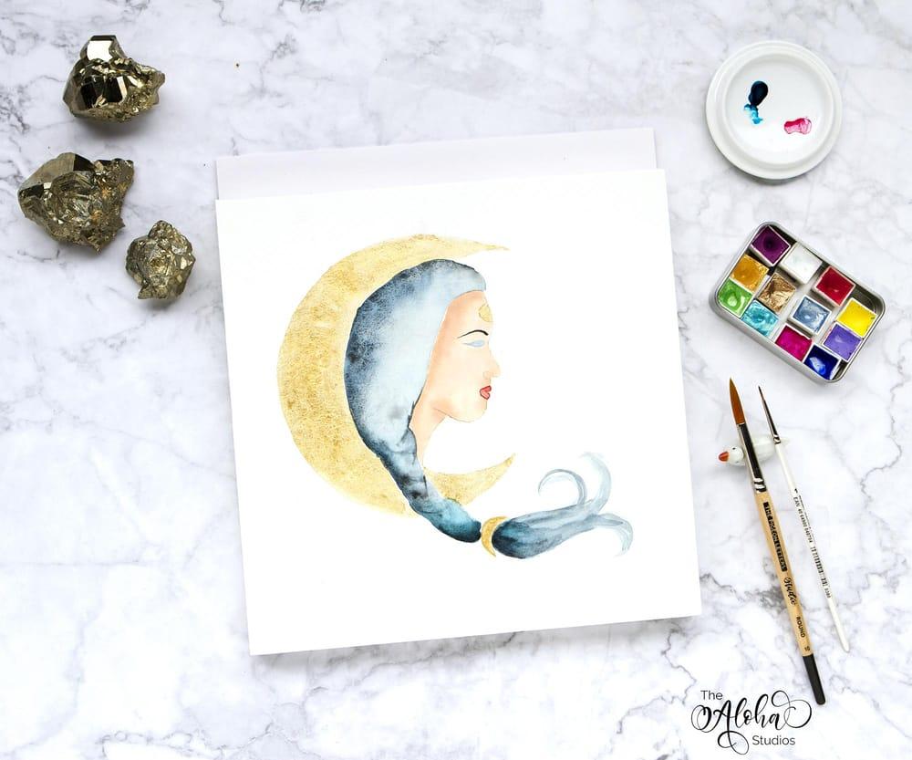 Hawaiian watercolor goddesses, work process - image 11 - student project