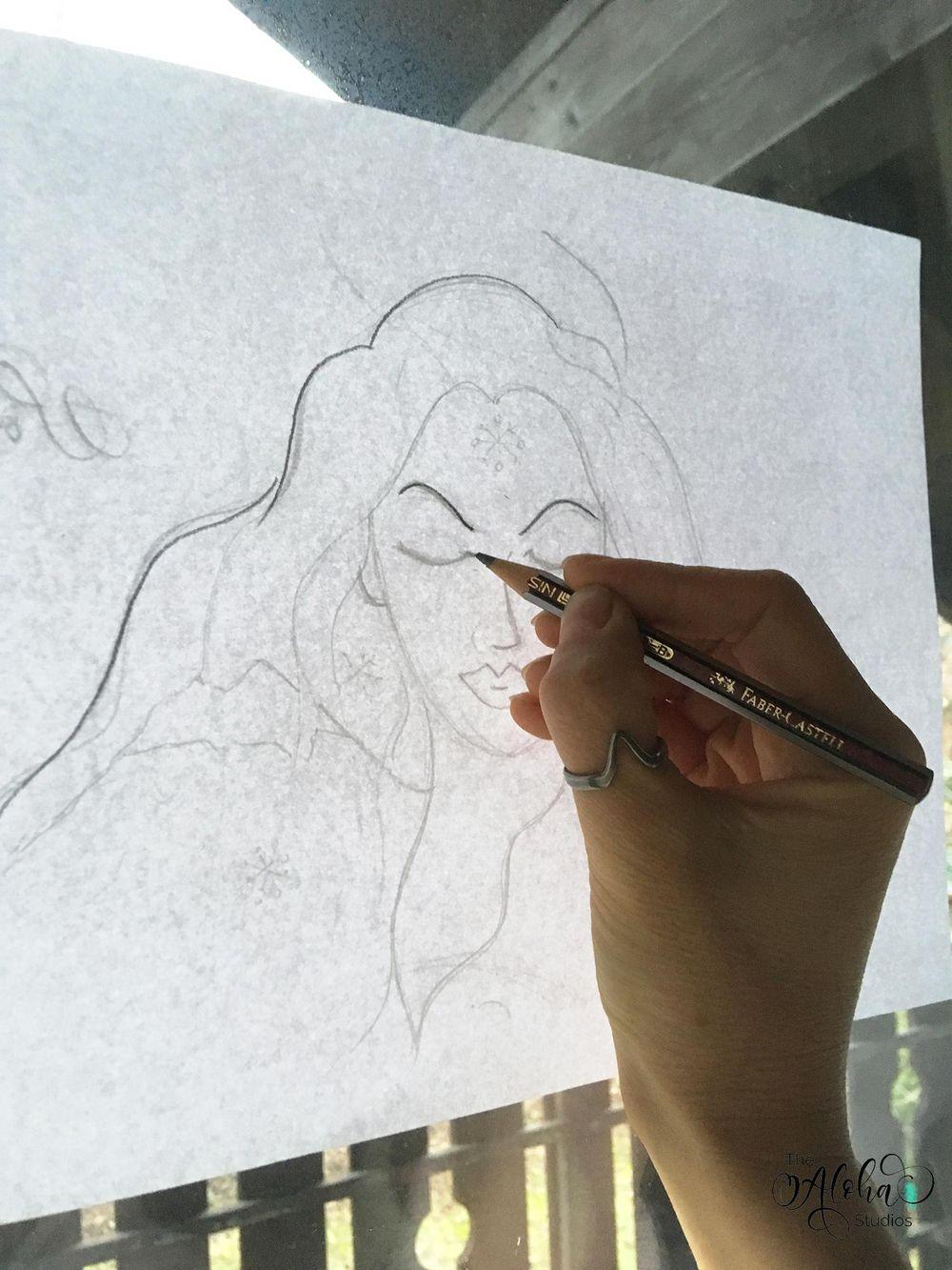 Hawaiian watercolor goddesses, work process - image 7 - student project