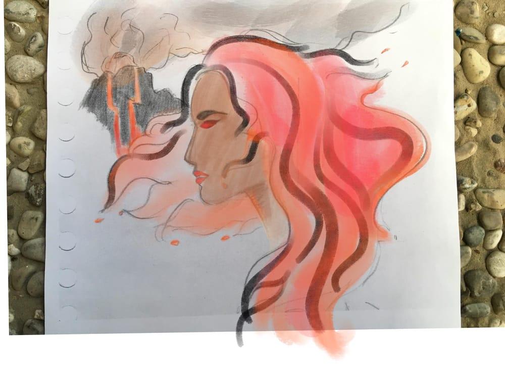 Hawaiian watercolor goddesses, work process - image 4 - student project