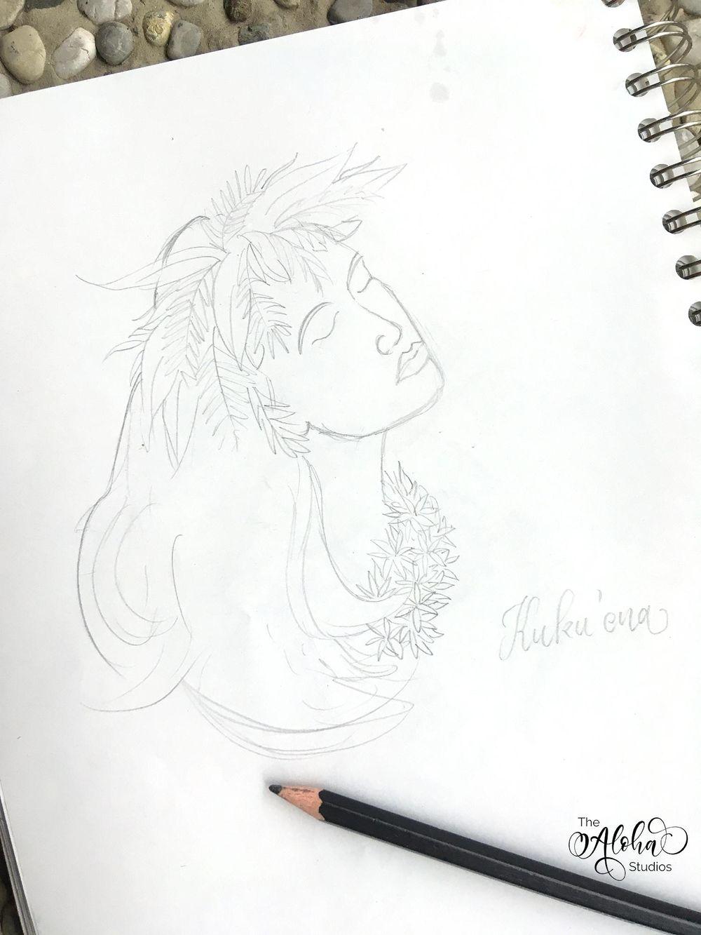 Hawaiian watercolor goddesses, work process - image 3 - student project