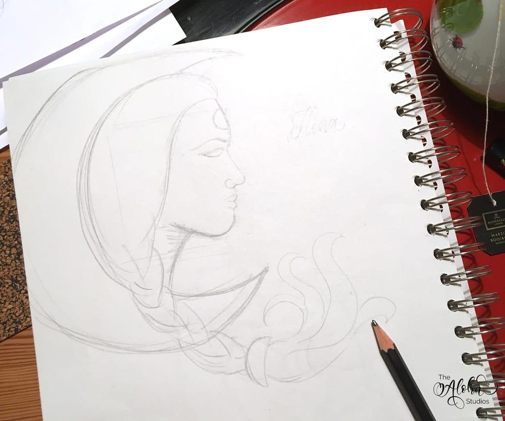 Hawaiian watercolor goddesses, work process - image 1 - student project