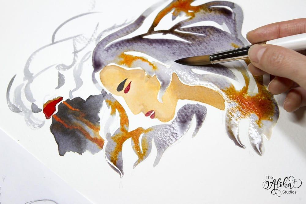 Hawaiian watercolor goddesses, work process - image 9 - student project