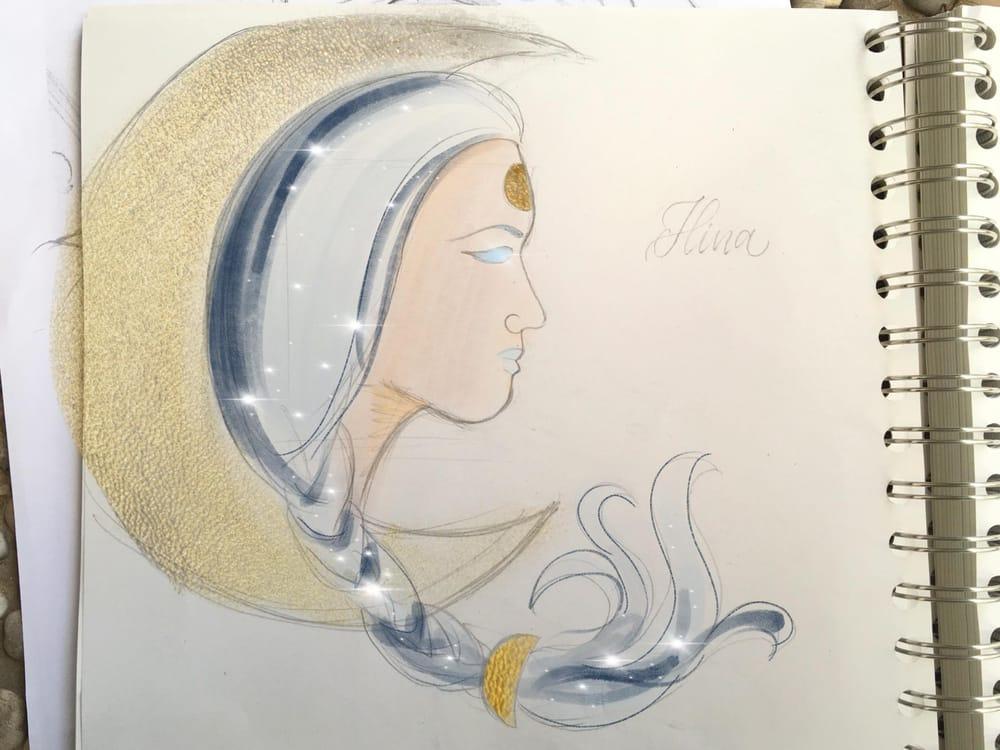Hawaiian watercolor goddesses, work process - image 6 - student project