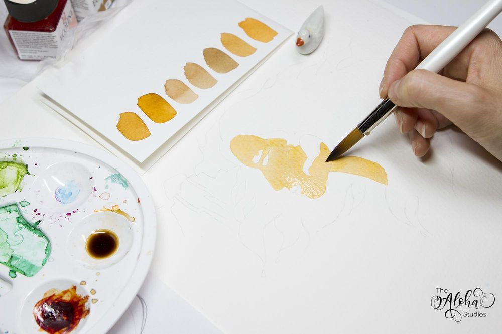 Hawaiian watercolor goddesses, work process - image 8 - student project