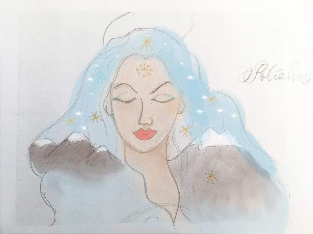 Hawaiian watercolor goddesses, work process - image 5 - student project