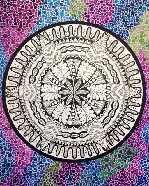 Dotty Watercolour Mandala :) - image 3 - student project