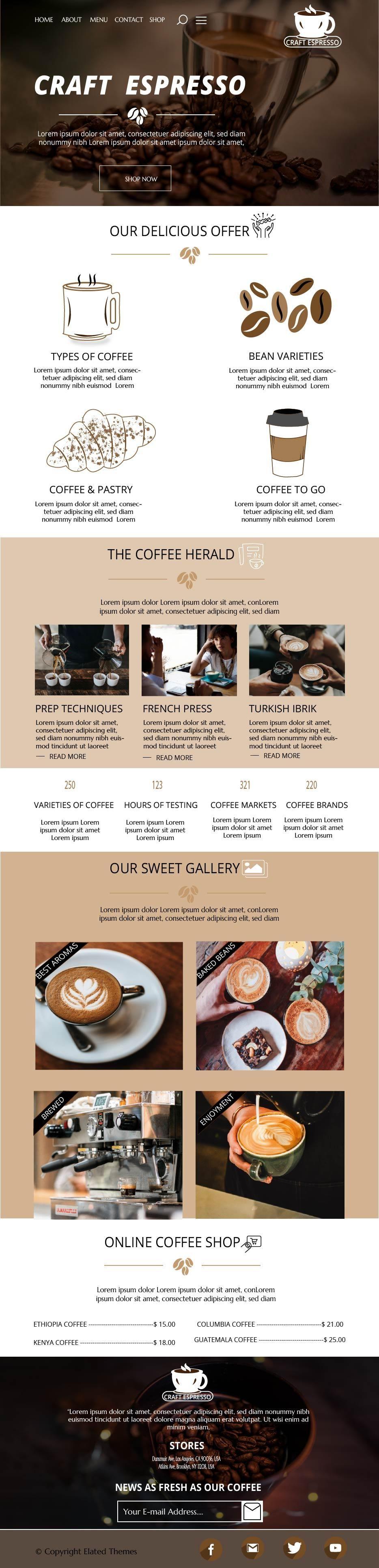 Craft Espresso Web design - image 3 - student project