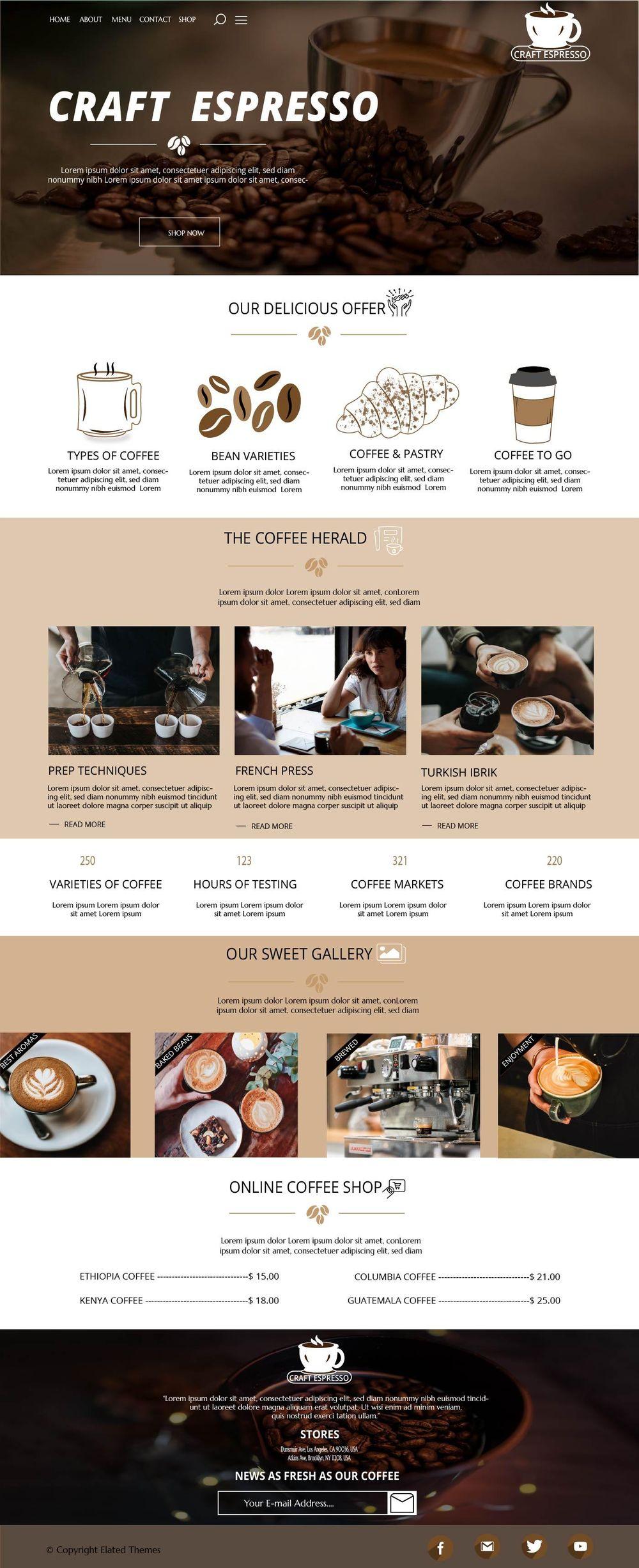 Craft Espresso Web design - image 1 - student project