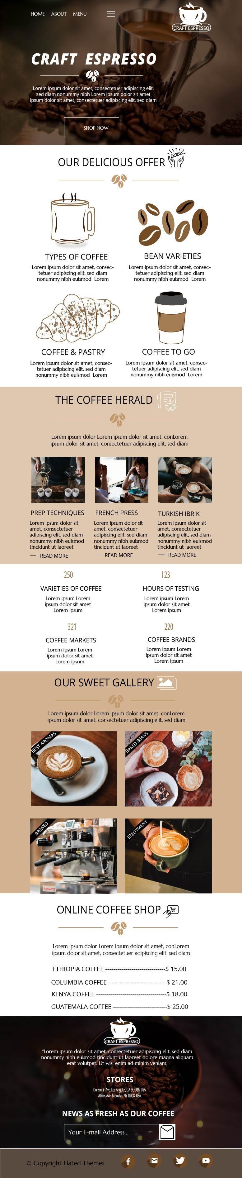 Craft Espresso Web design - image 2 - student project