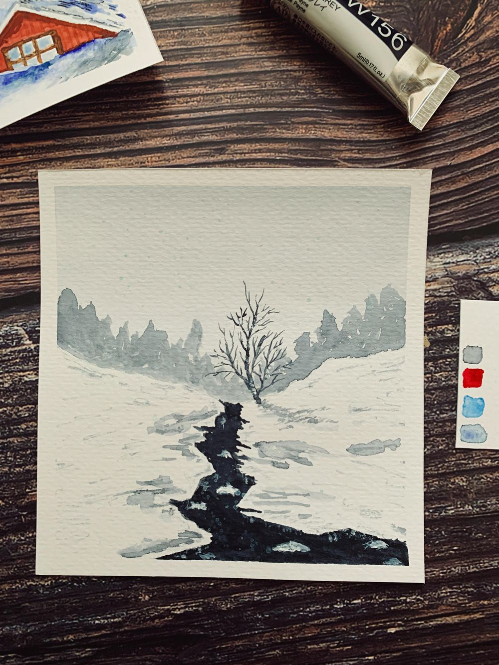 Fun Snowy Watercolor Paintings - image 2 - student project