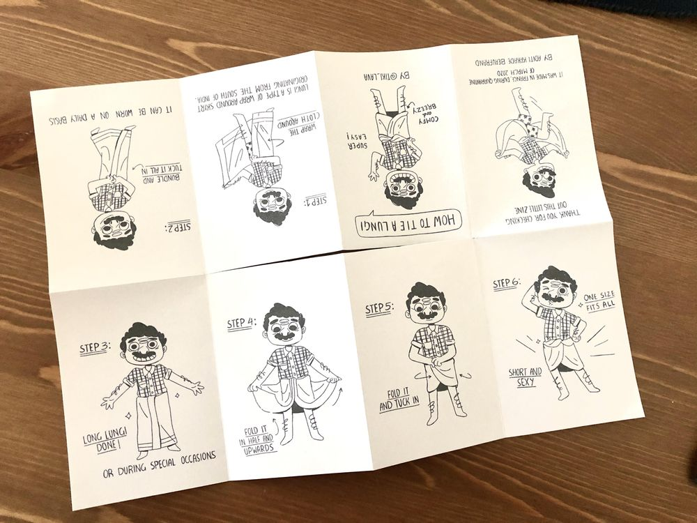 Made a one page zine about : how to tie a lungi - image 2 - student project