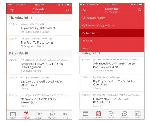 Heuristic evaluation: Meetup's iPhone app - image 1 - student project